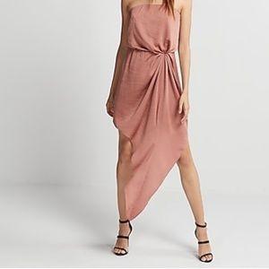 Express Strapless Asymmetrical Hem Dress